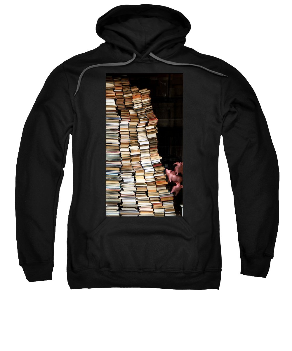 Books Sweatshirt featuring the photograph Flying Pigs And Books by Andrew Fare