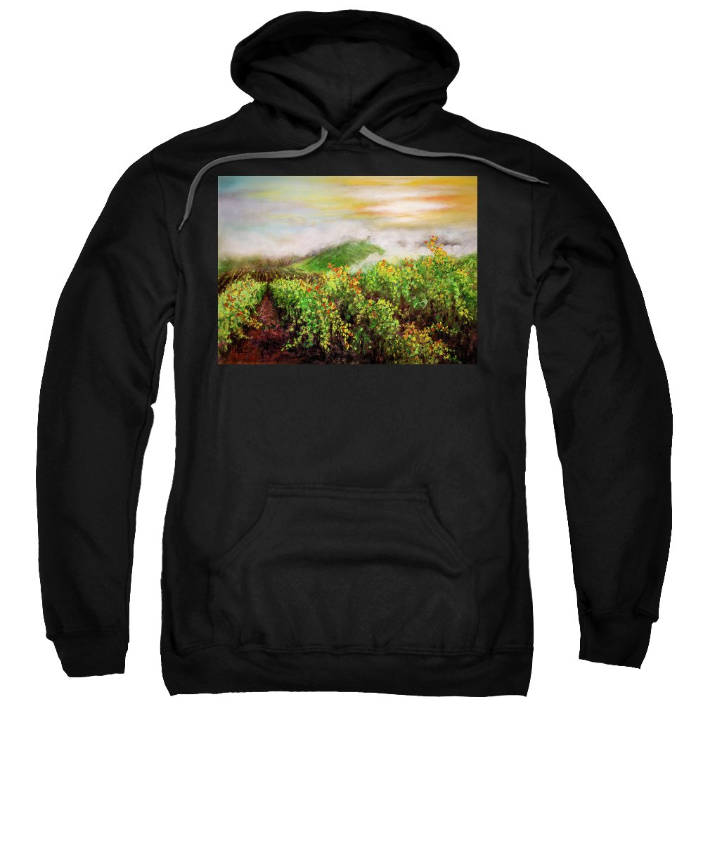 Landscape Sweatshirt featuring the painting Fog On The Vines by Philip Lodwick Wilkinson