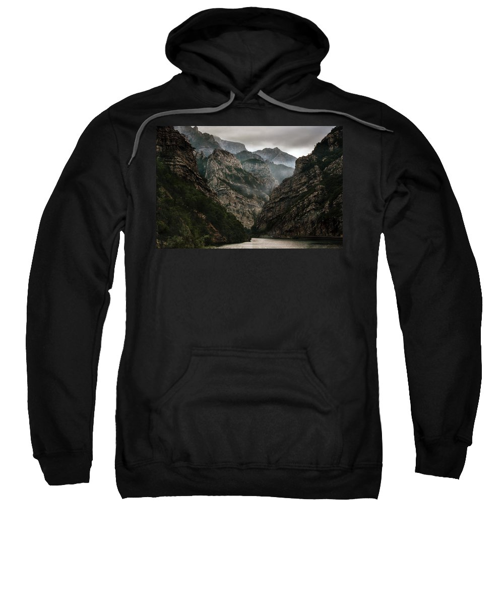 Outdoor Sweatshirt featuring the photograph Foggy Mountains Over Neretva Gorge by Jaroslaw Blaminsky