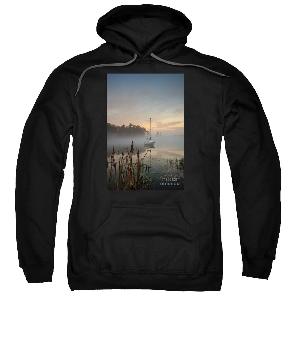 Great Pond Sweatshirt featuring the photograph Foggy Sunrise At Great Pond 3 by Jim Hayes