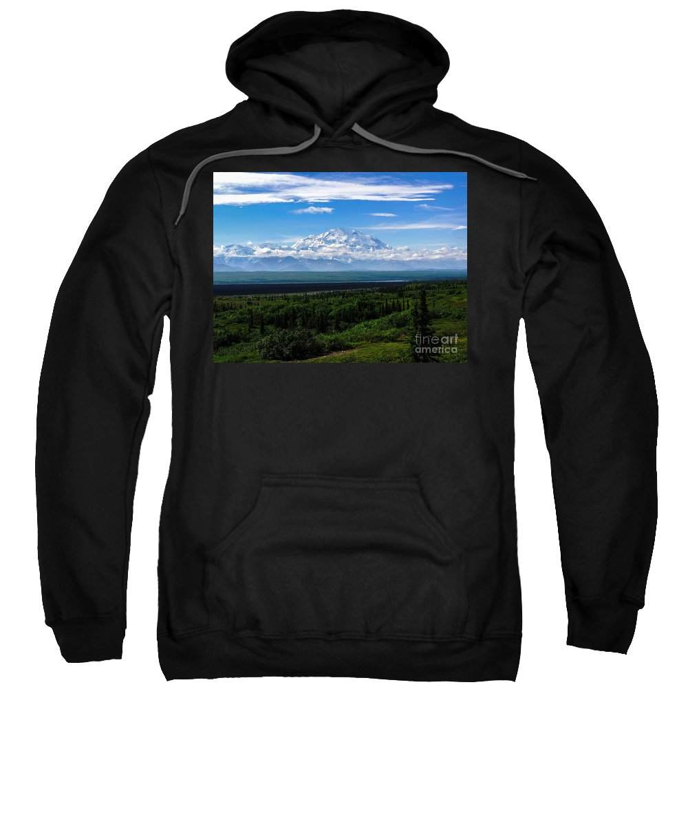 Alaska Sweatshirt featuring the photograph Foggy Valley by Grant Bolei