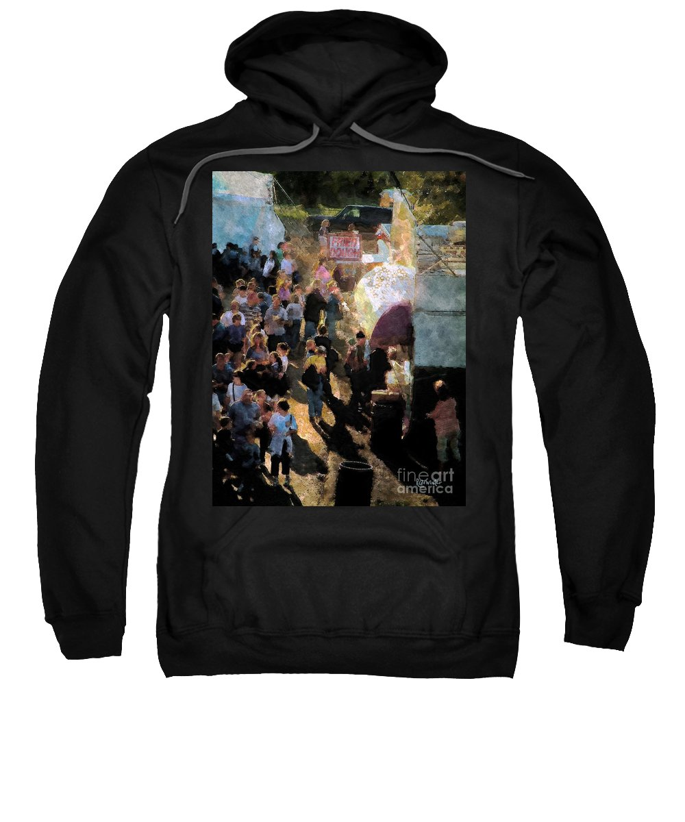 Americana Sweatshirt featuring the painting Food Alley At The Country Fair by RC DeWinter