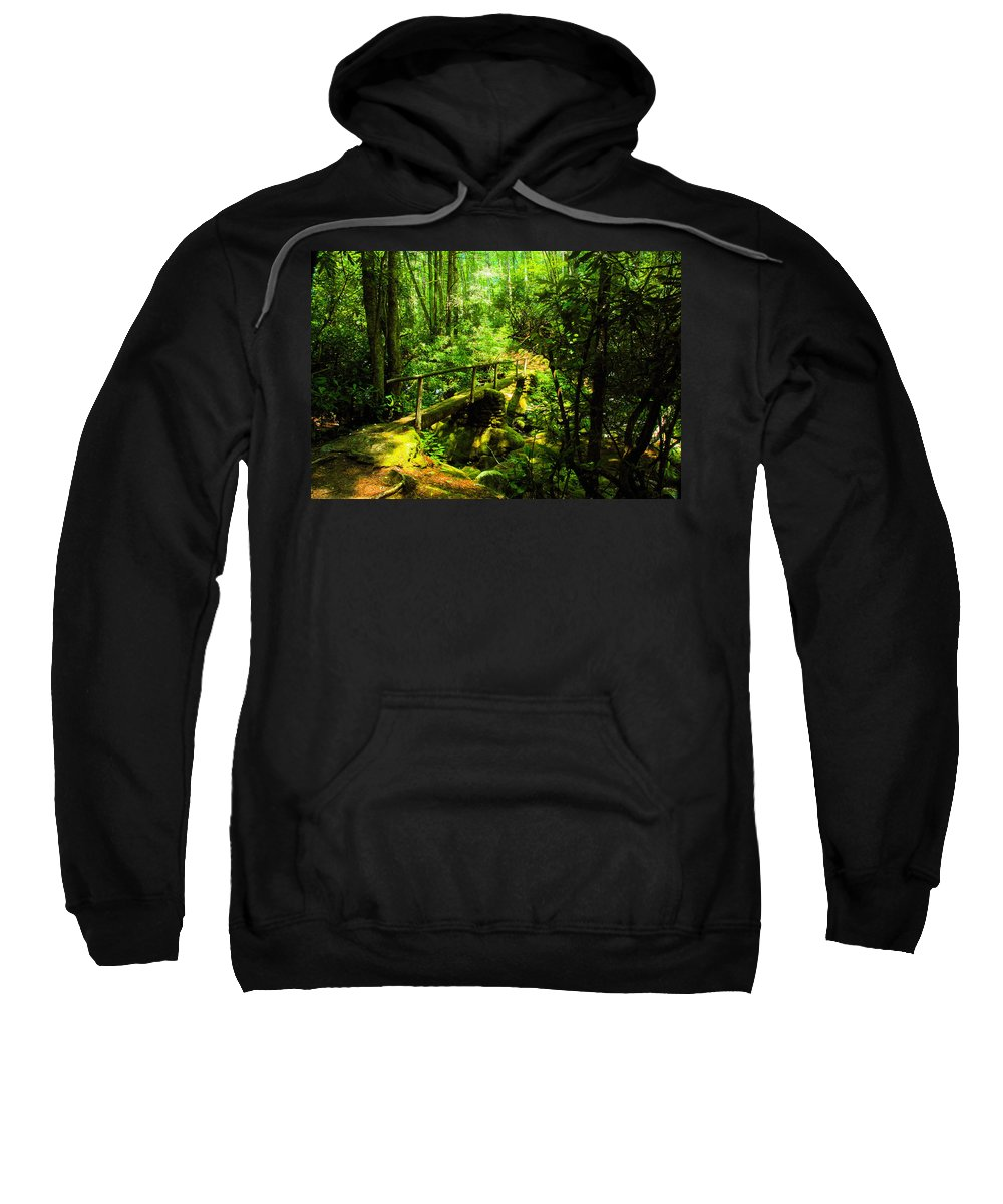 Art Sweatshirt featuring the painting Foot Bridge by David Lee Thompson