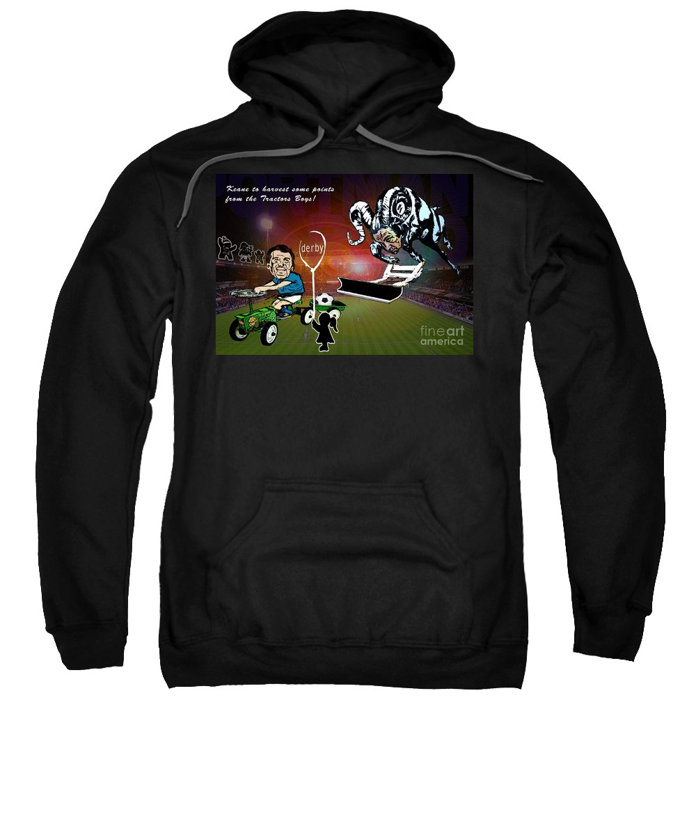 Sweatshirt featuring the painting Football Derby Rams Against Ipswich Tractor Boys by Miki De Goodaboom