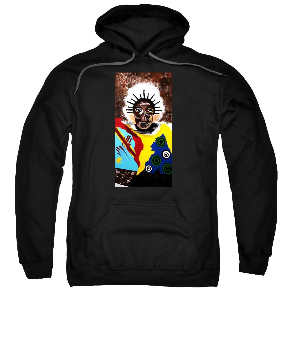 Congo Sweatshirt featuring the painting For The Women Of The Congo by Carla J Lawson