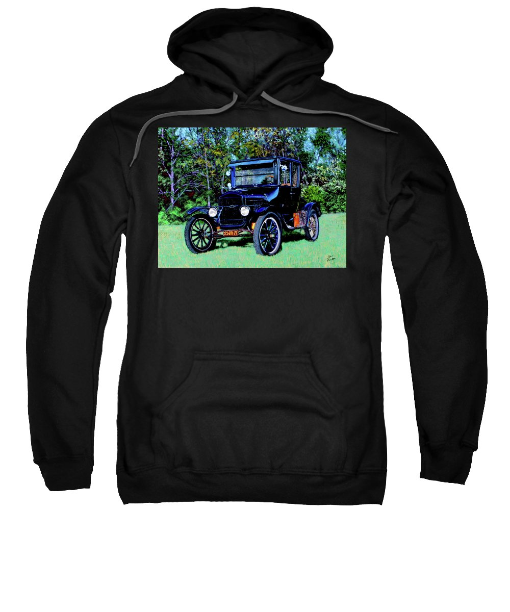 Ford Sweatshirt featuring the painting Ford Model T by Stan Hamilton