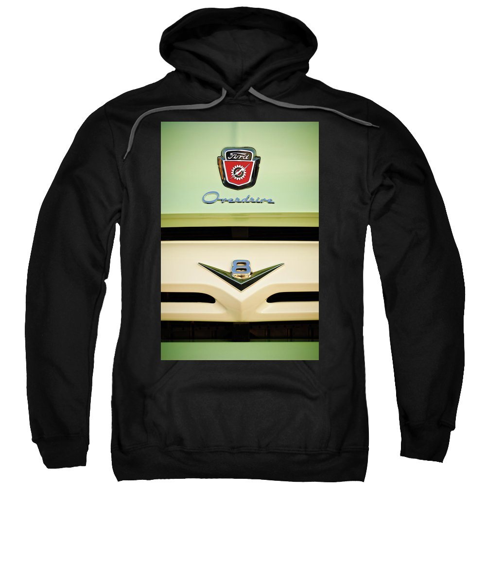 1956 Ford F-100 Truck Emblem Sweatshirt featuring the photograph Ford V8 Pickup Emblem by Jill Reger
