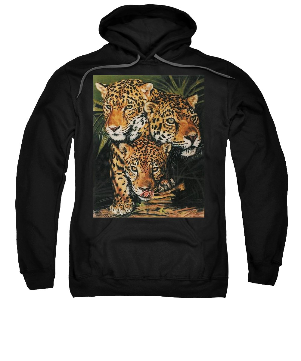Jaguar Sweatshirt featuring the pastel Forest Jewels by Barbara Keith