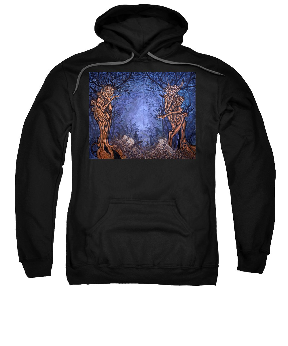 Mystic Sweatshirt featuring the painting Forest by Judy Henninger