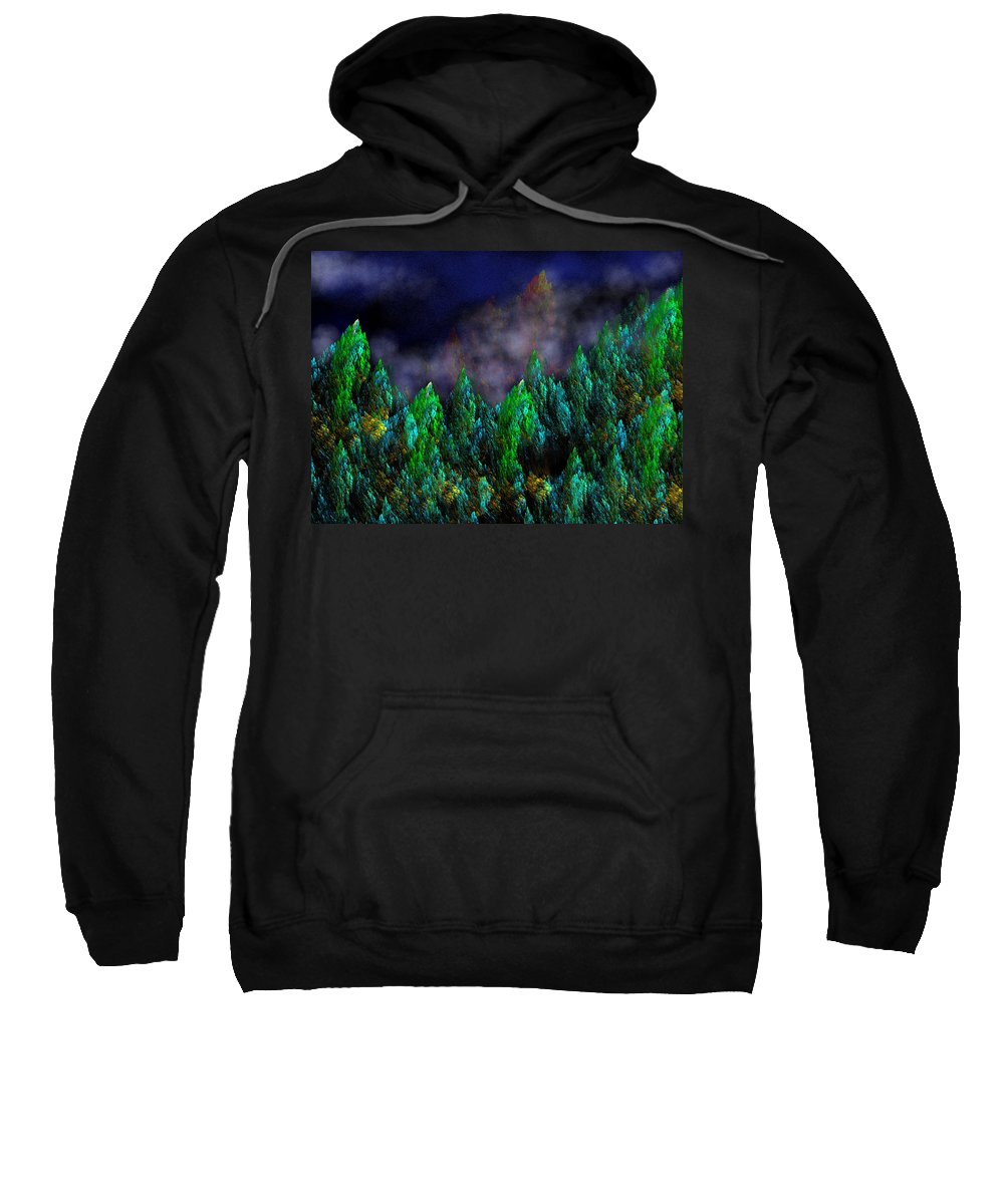 Abstract Digital Painting Sweatshirt featuring the digital art Forest Primeval by David Lane