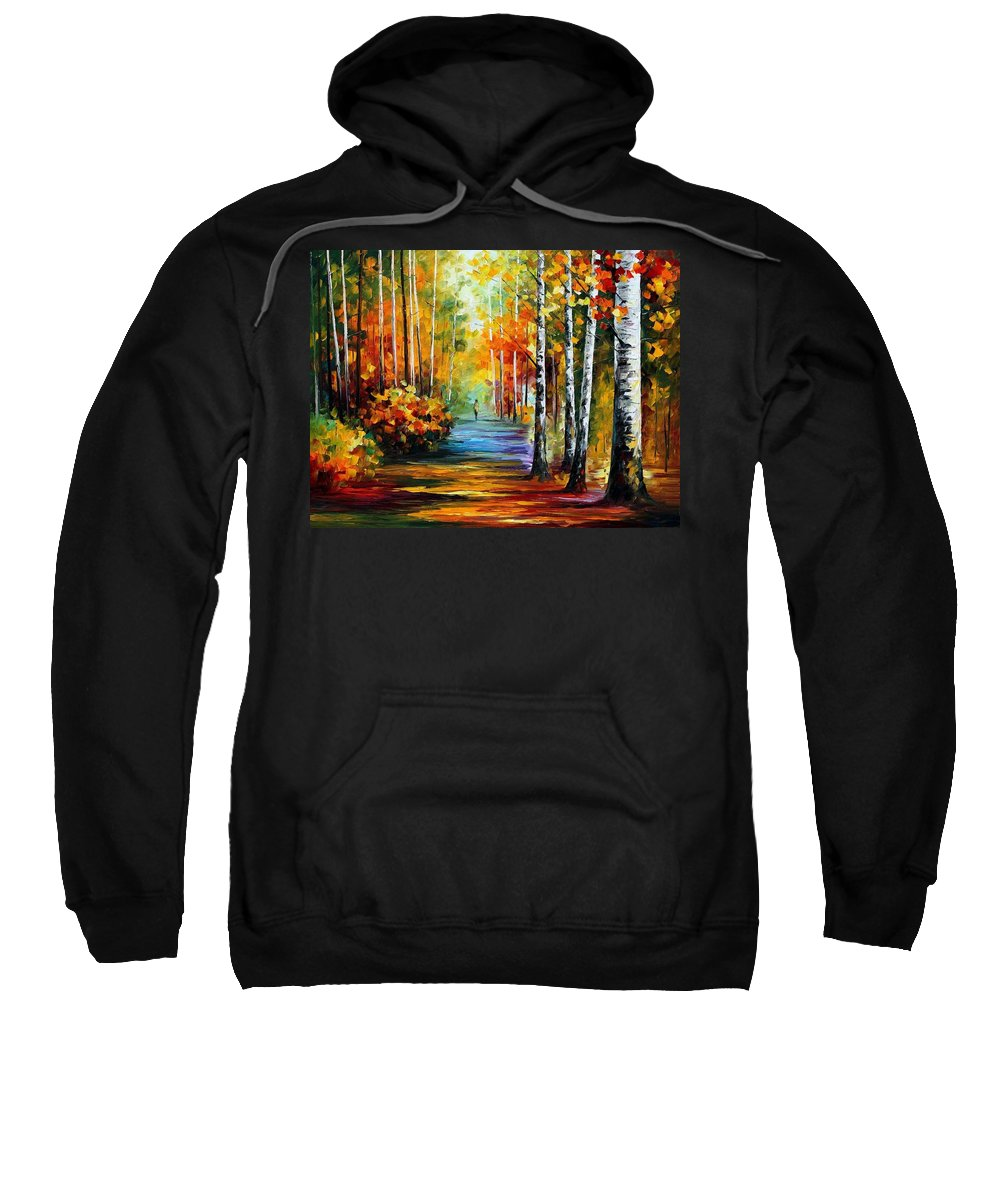 Afremov Sweatshirt featuring the painting Forest Road by Leonid Afremov