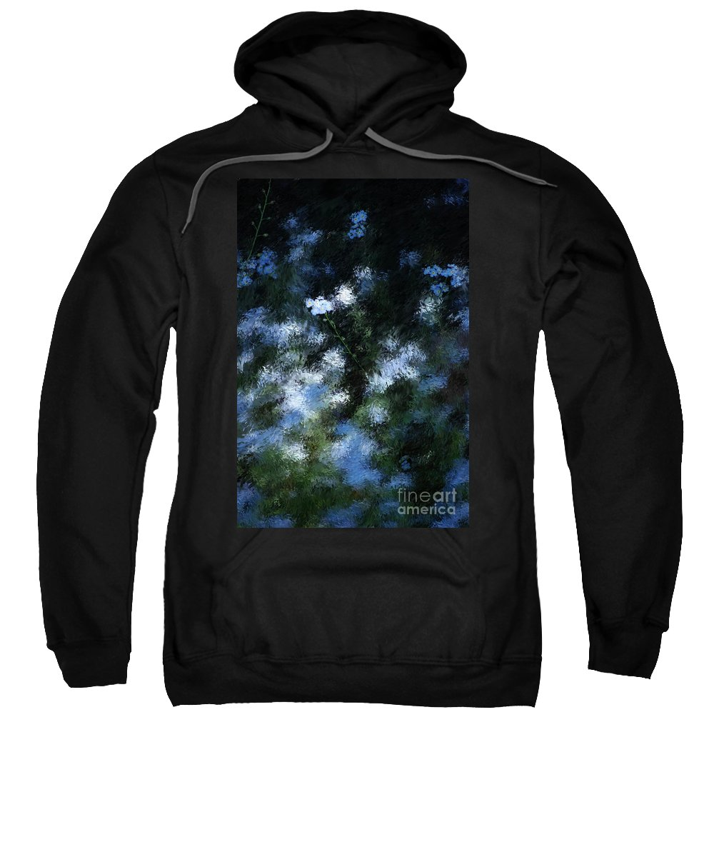 Abstract Sweatshirt featuring the digital art Forget Me Not by David Lane