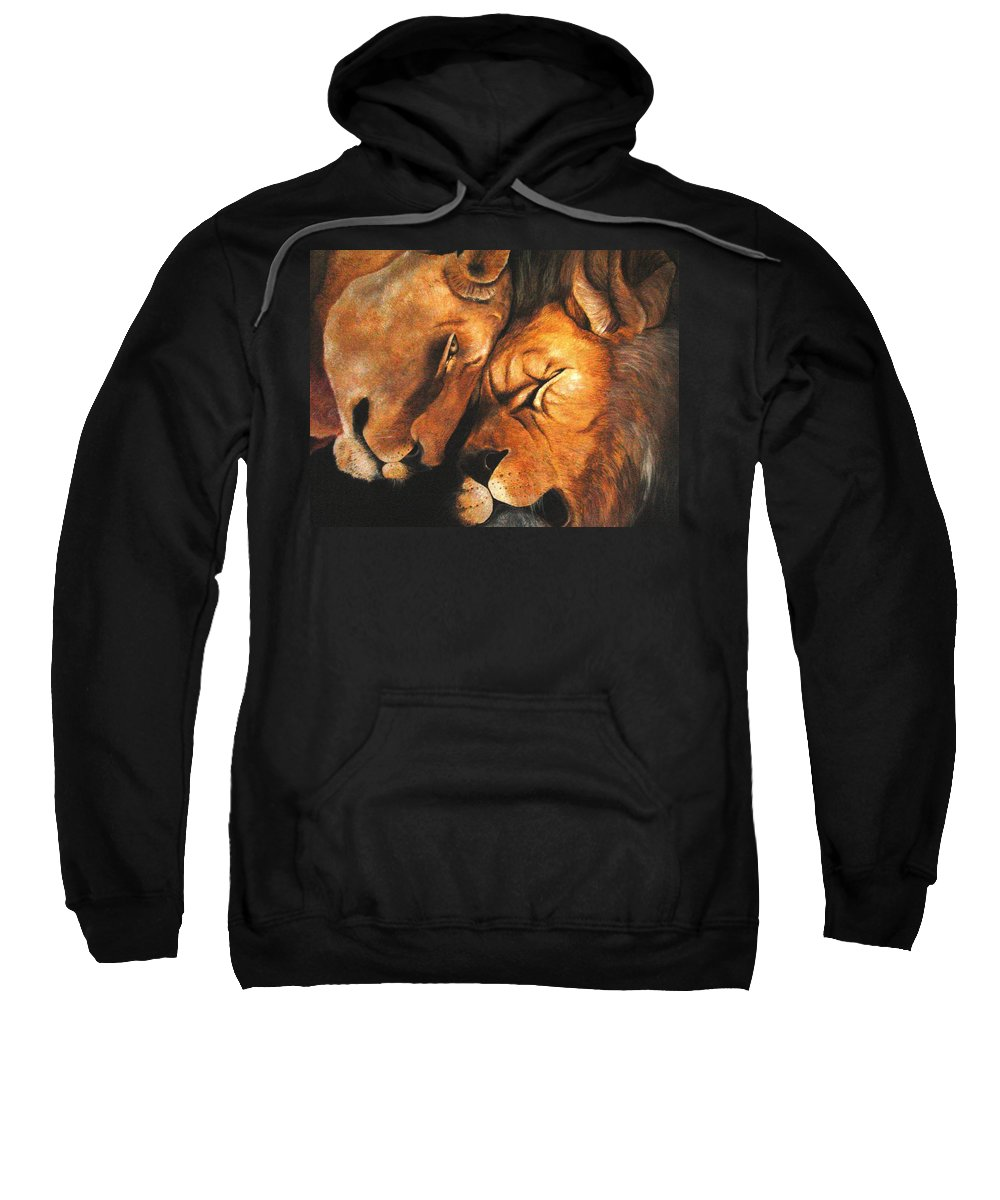 Lion Sweatshirt featuring the painting Forgiven by Glory Fraulein Wolfe