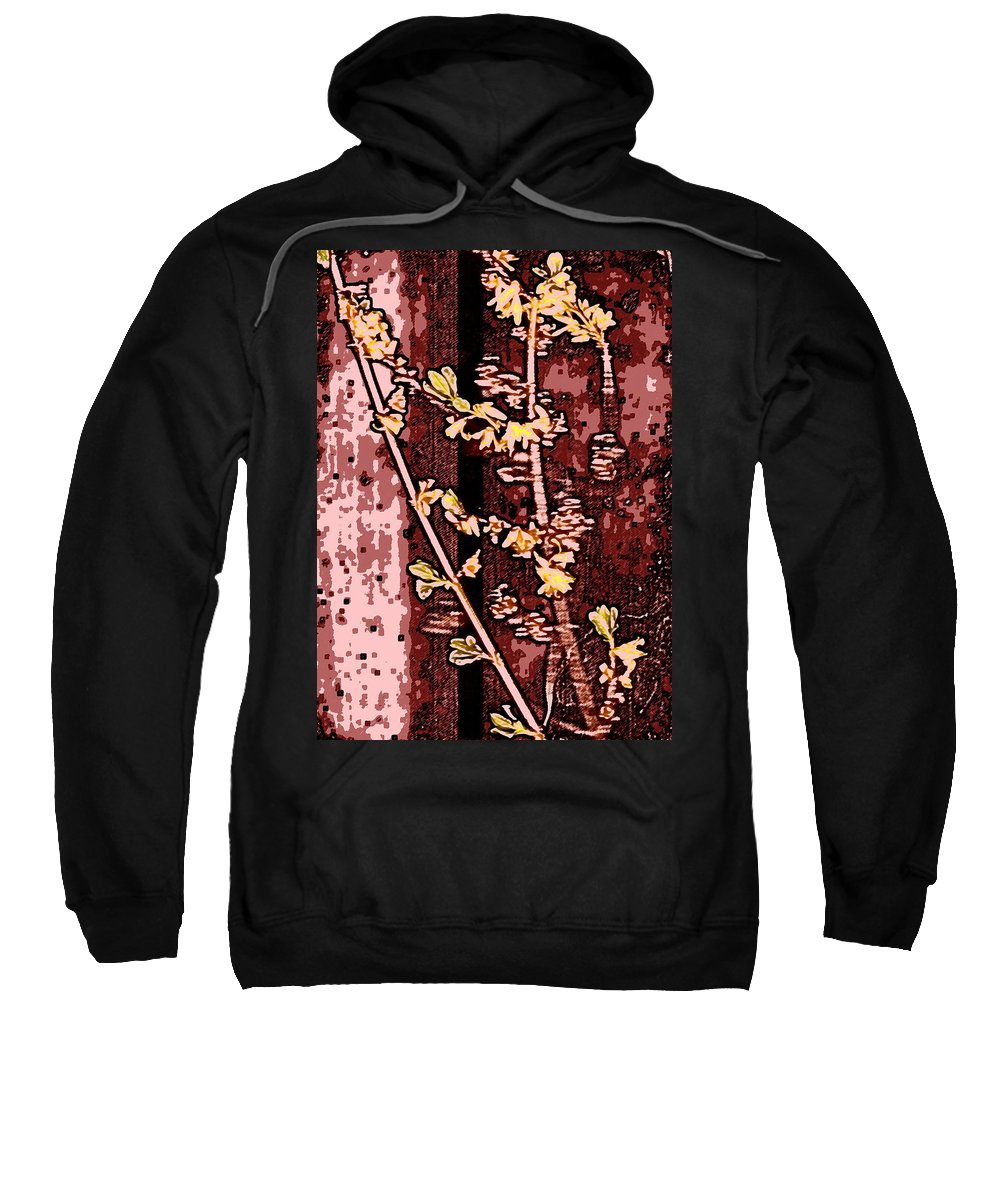 Flower Sweatshirt featuring the photograph Forsythia Branch by Wayne Potrafka
