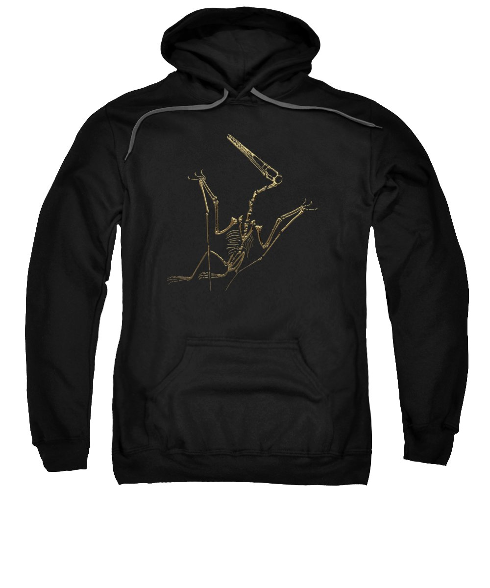 'fossil Record' Collection By Serge Averbukh Sweatshirt featuring the digital art Fossil Record - Gold Pterodactyl Fossil On Black Canvas #4 by Serge Averbukh