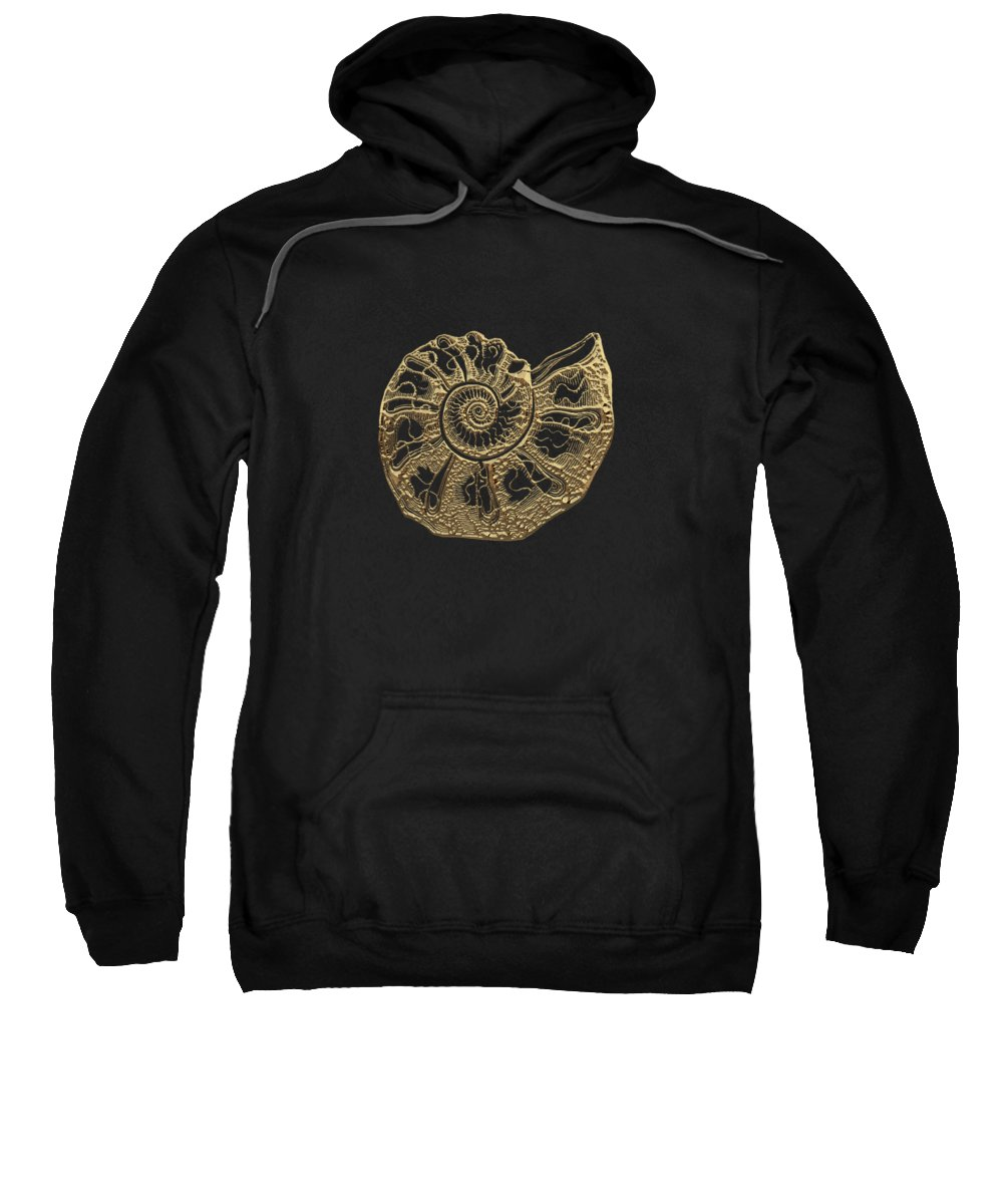 'fossil Record' Collection By Serge Averbukh Sweatshirt featuring the digital art Fossil Record - Golden Ammonite Fossil On Square Black Canvas #4 by Serge Averbukh