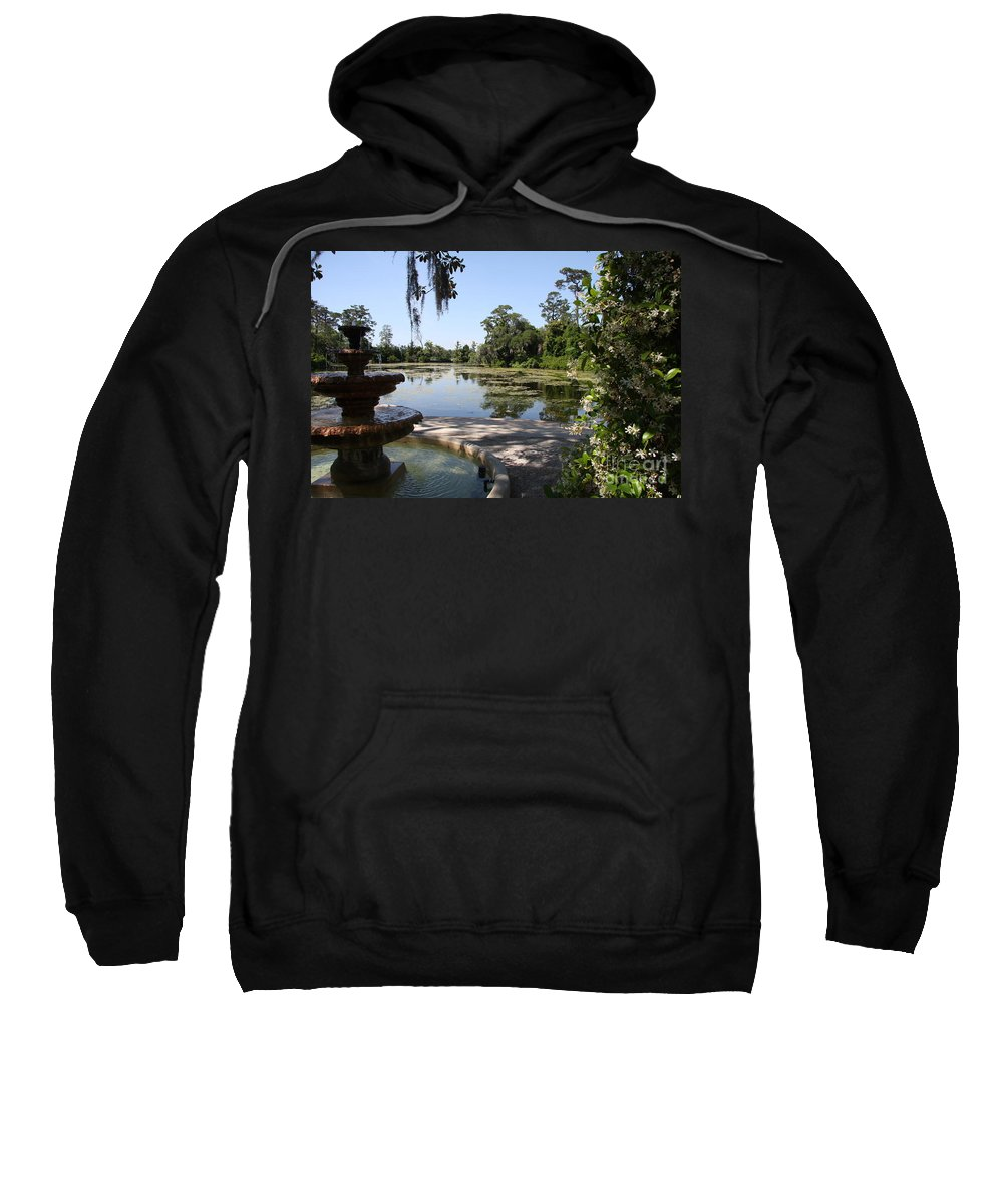 Fountain Sweatshirt featuring the photograph Fountain At The Swamp by Christiane Schulze Art And Photography