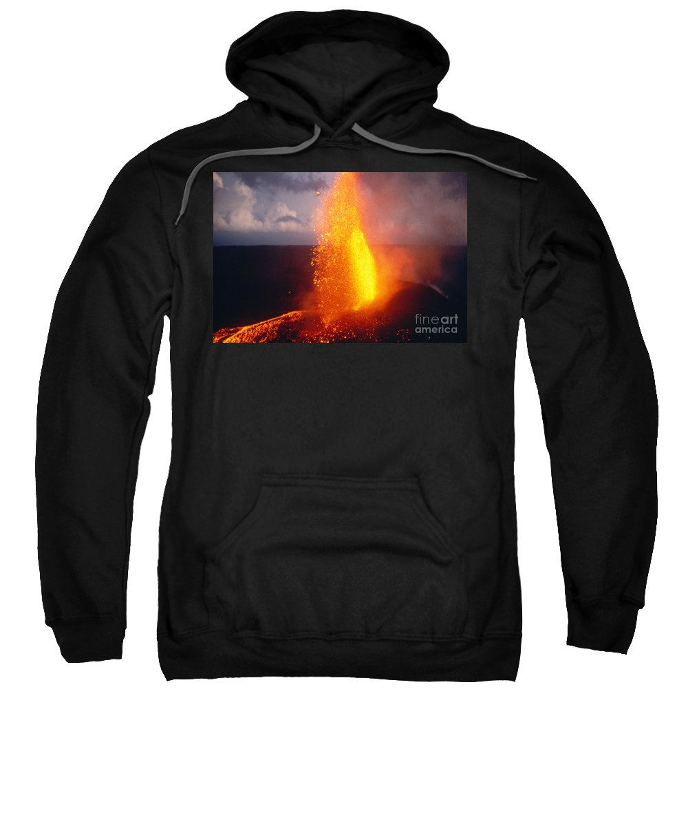 A'a Sweatshirt featuring the photograph Fountaining Kilauea by Allan Seiden - Printscapes