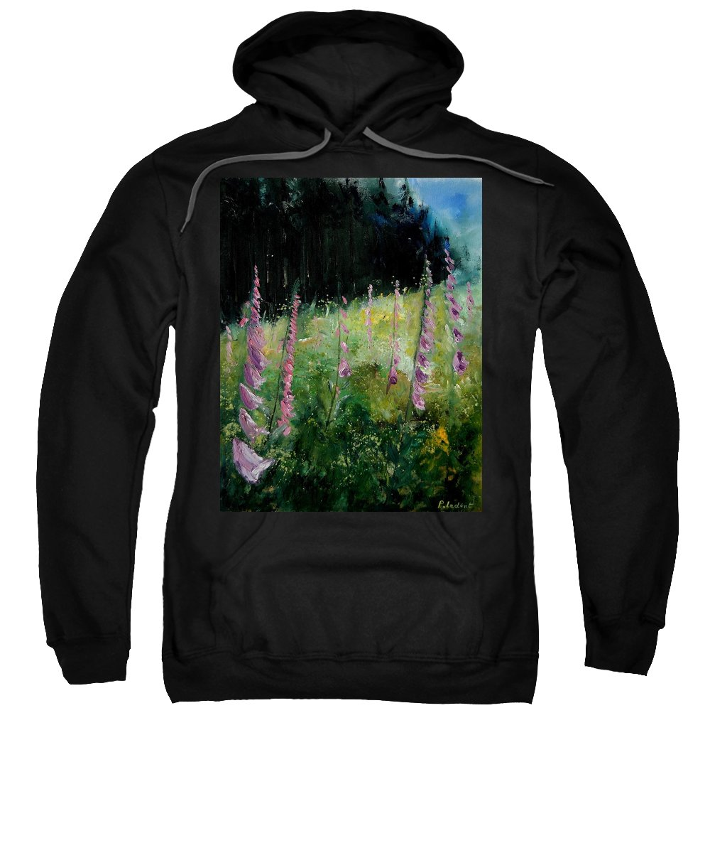 Flowers Sweatshirt featuring the painting Foxgloves by Pol Ledent