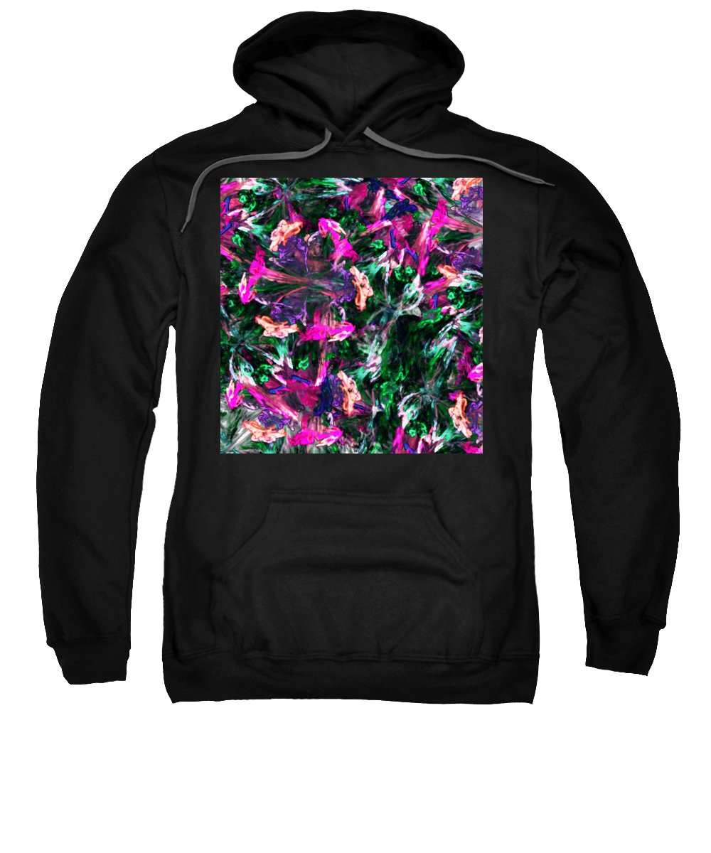 Digital Photography Sweatshirt featuring the digital art Fractal Floral Riot by David Lane