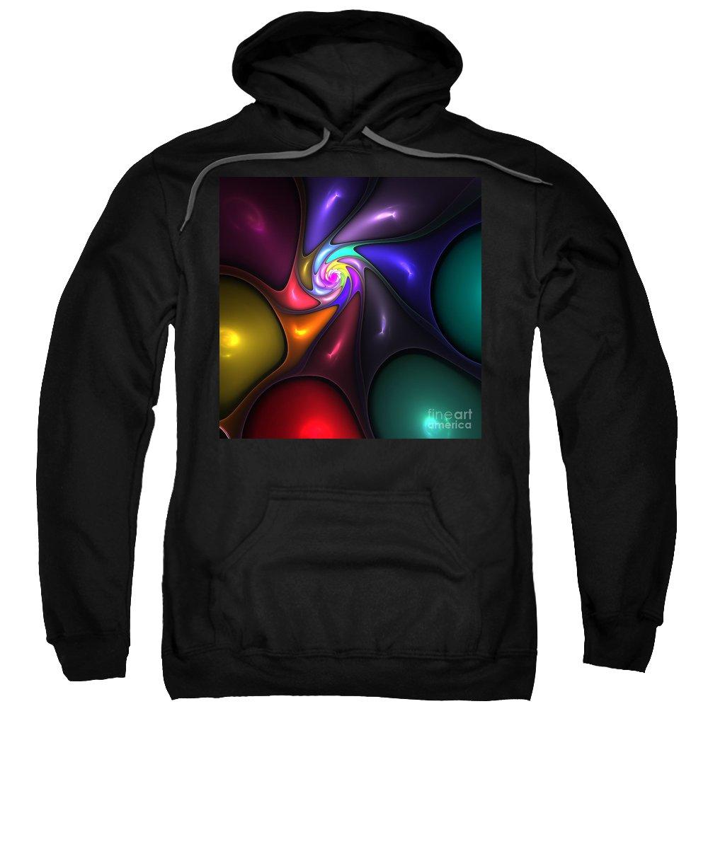 Abstract Sweatshirt featuring the digital art Fractal Flower 2 by Steve K