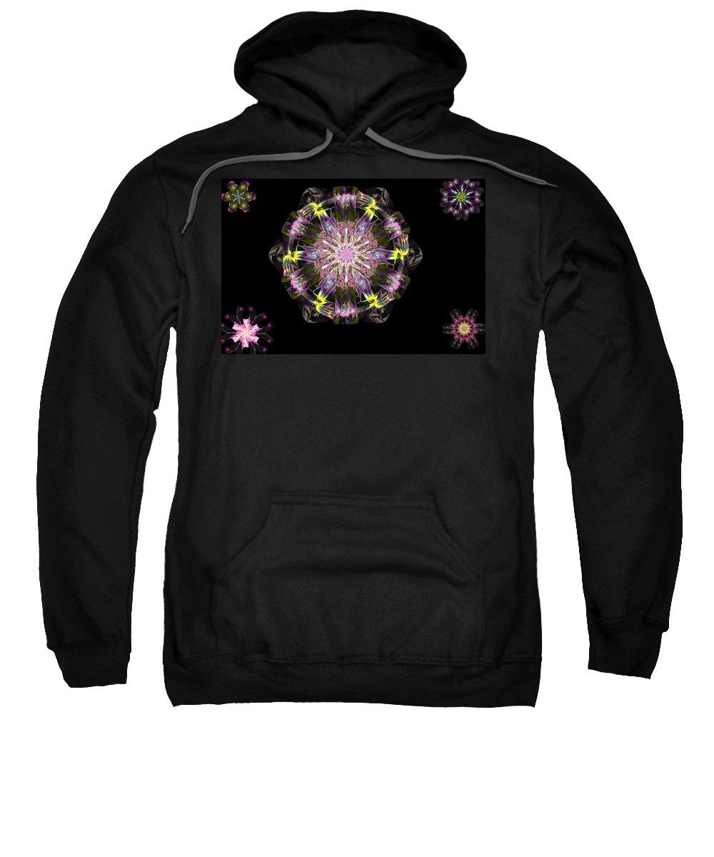 Digital Painting Sweatshirt featuring the digital art Fractal Flowers 10-20-09 by David Lane