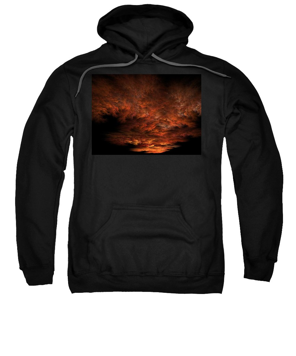 Apophysis Sweatshirt featuring the digital art Fractal Sunset by Lyle Hatch