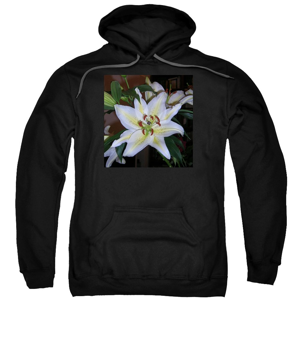 Flower Sweatshirt featuring the photograph Fragrant White Lily by Valerie Ornstein