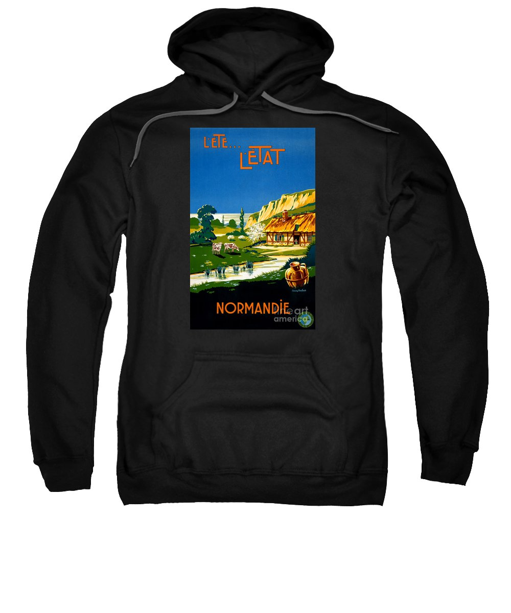 Vintage Sweatshirt featuring the painting France Normandy Vintage Travel Poster Restored by Vintage Treasure