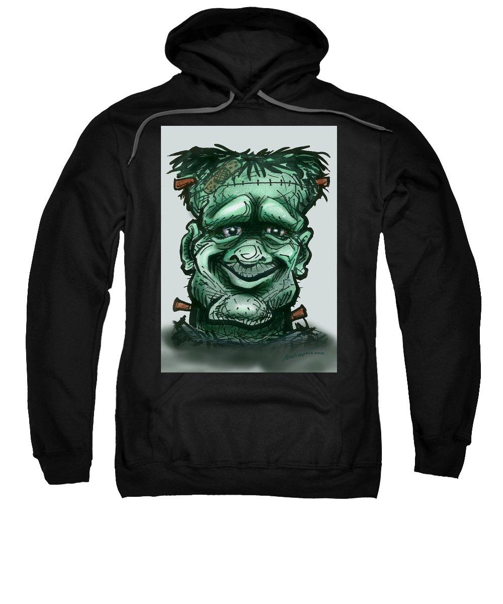 Frankenstein Sweatshirt featuring the greeting card Frankenstein by Kevin Middleton
