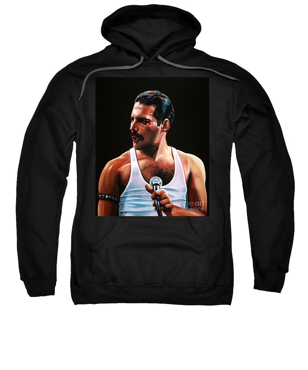 Freddie Mercury Sweatshirt featuring the painting Freddie Mercury by Paul Meijering