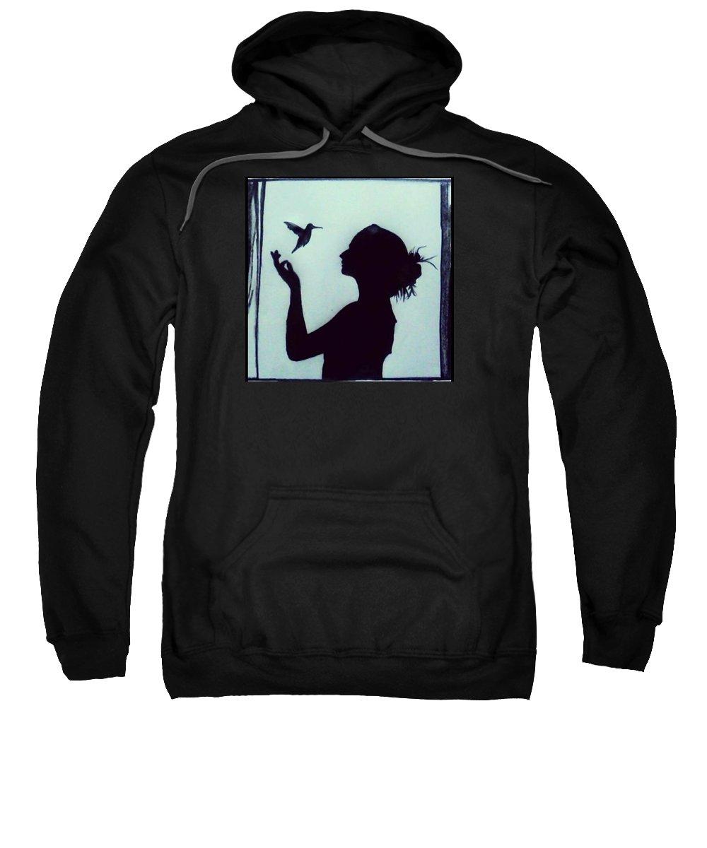 Girl Sweatshirt featuring the drawing Freedom by Shriyansh Dwivedi
