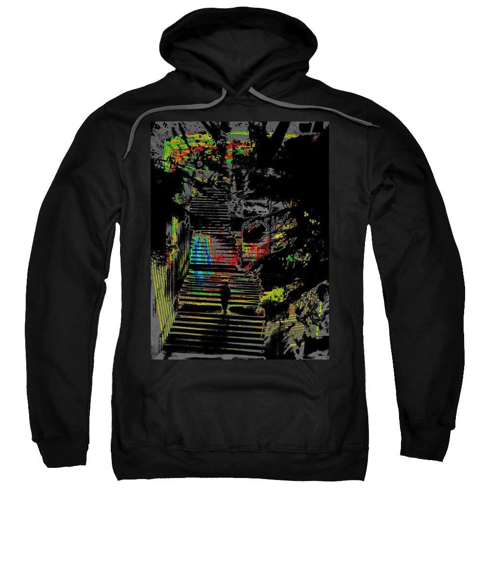 Seattle Sweatshirt featuring the digital art Freeway Park Steps by Tim Allen