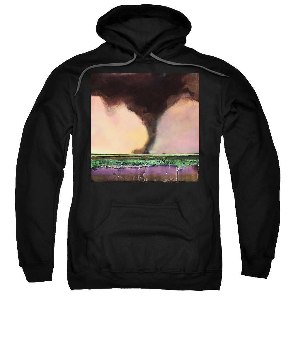 Tornado Sweatshirt featuring the painting Freight Train A Comin by Toni Grote