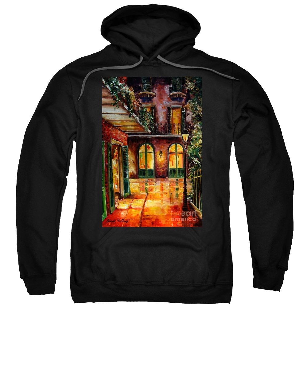 New Orleans Sweatshirt featuring the painting French Quarter Alley by Diane Millsap