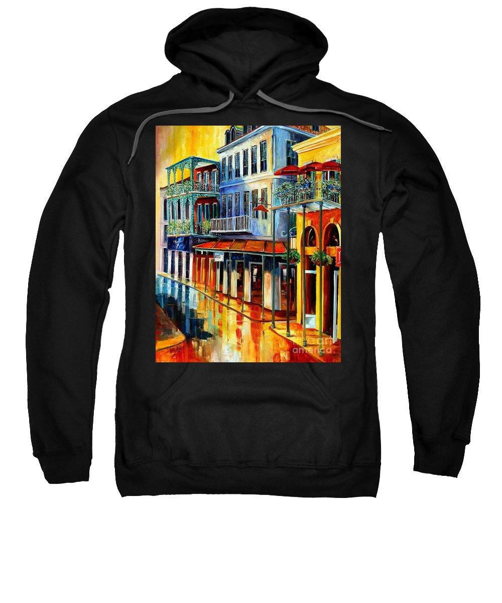 New Orleans Paintins Sweatshirt featuring the painting French Quarter Sunrise by Diane Millsap