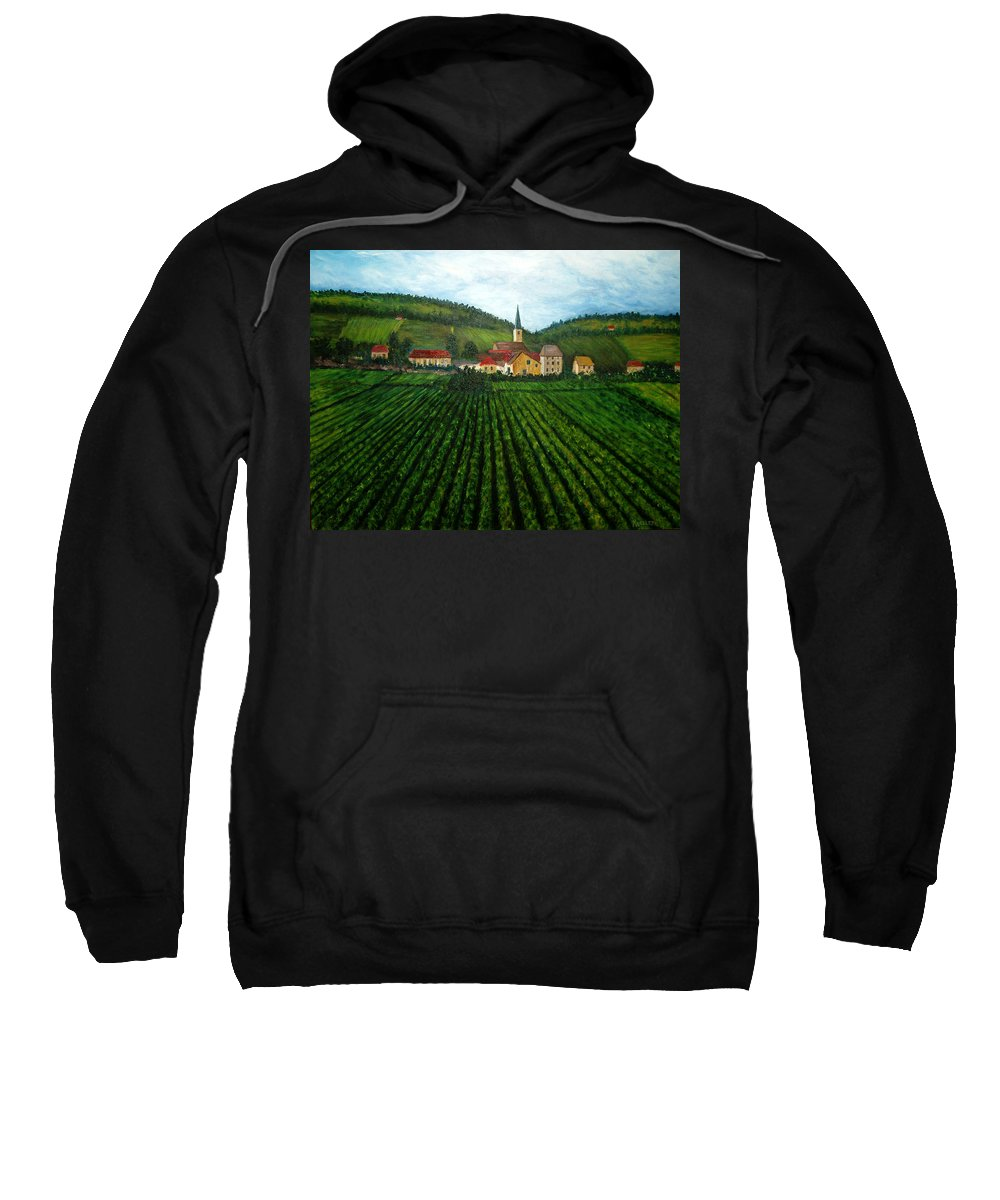 Acrylic Sweatshirt featuring the painting French Village In The Vineyards by Nancy Mueller