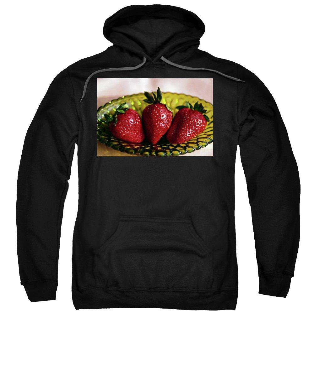 3 Fresh Strawberries Sweatshirt featuring the photograph Fresh Strawberries by Sally Weigand