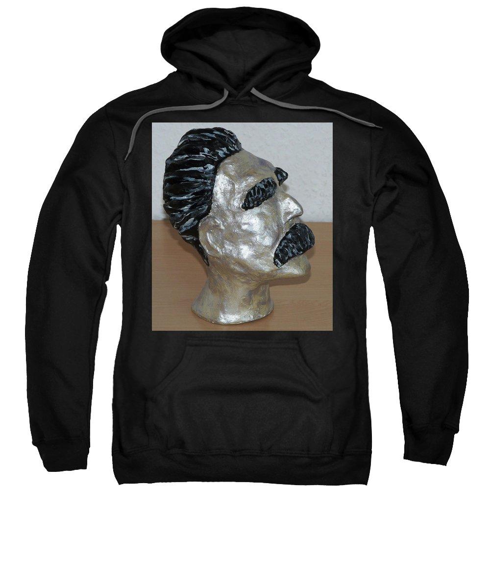 Nietzsche Sweatshirt featuring the sculpture Friedrich Nietzsche by Valerie Ornstein