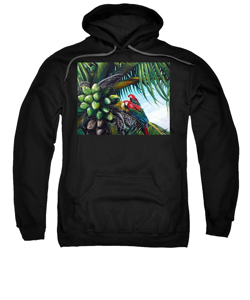 Macaws Bird Painting Coconut Palm Tree Painting Parrots Caribbean Painting Tropical Painting Coconuts Painting Palm Tree Greeting Card Painting Sweatshirt featuring the painting Friends Of A Feather by Karin Dawn Kelshall- Best