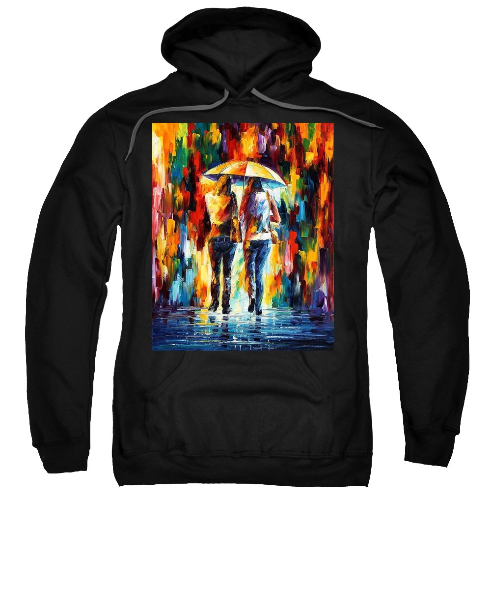 Afremov Sweatshirt featuring the painting Friends Under The Rain by Leonid Afremov