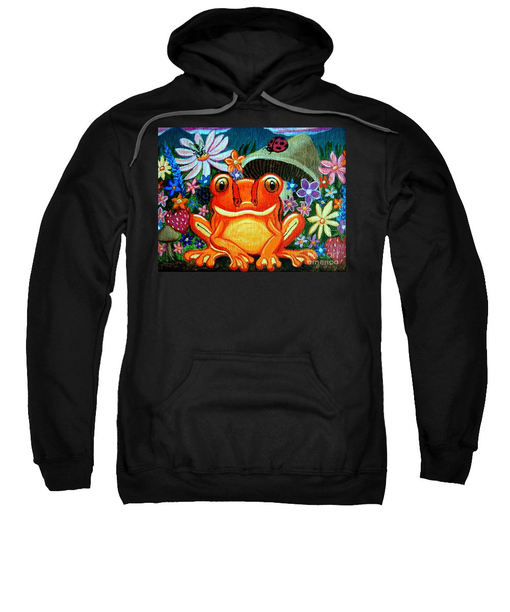 Frogs Sweatshirt featuring the painting Frog And Flowers by Nick Gustafson
