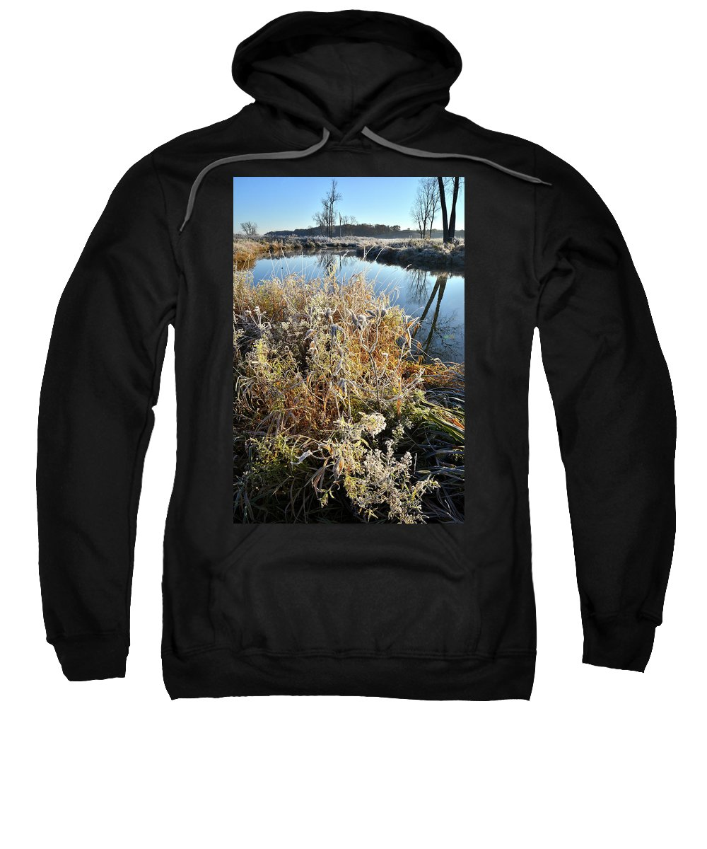 Mchenry County Conservation District Sweatshirt featuring the photograph Frost Along Nippersink Creek In Glacial Park At Sunrise by Ray Mathis