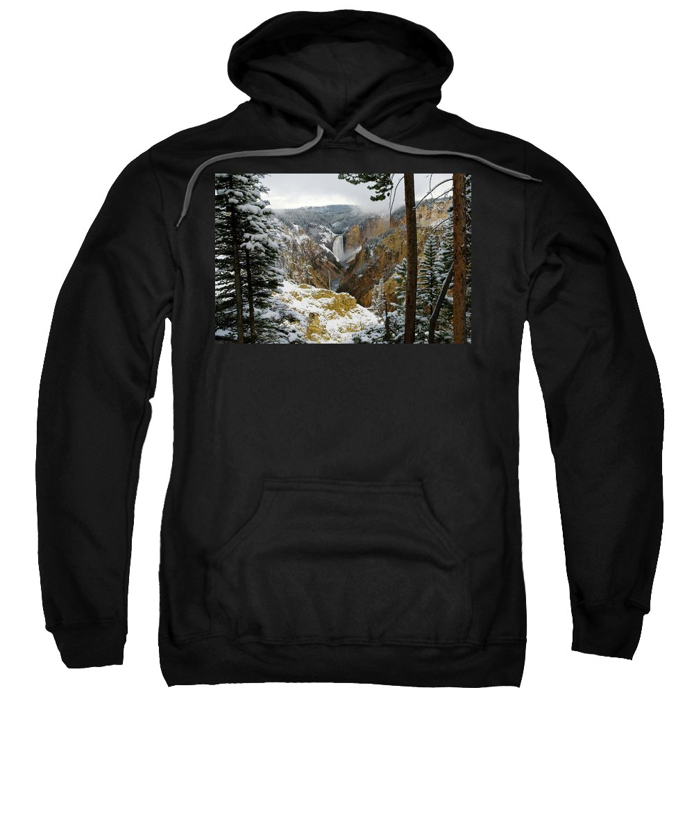 Yellowstone Sweatshirt featuring the photograph Frosted Canyon by Steve Stuller