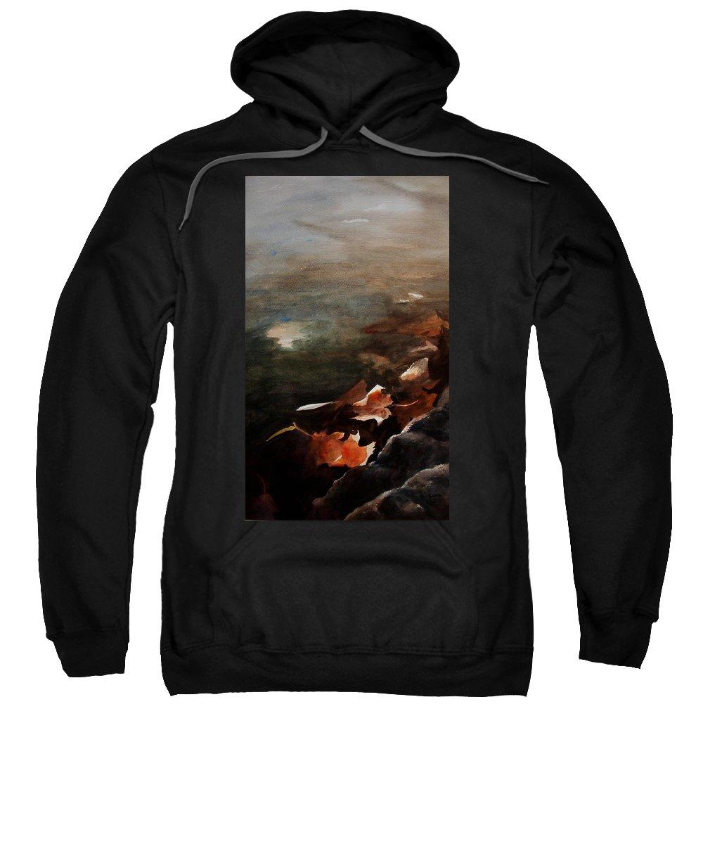Landscape Sweatshirt featuring the painting Frozen Memories by Rachel Christine Nowicki