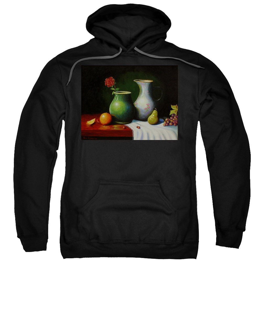 Still Life Sweatshirt featuring the painting Fruit And Pots. by Gene Gregory