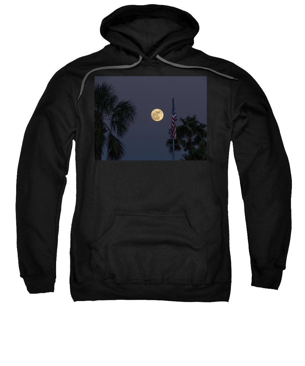 Full Moon Sweatshirt featuring the photograph Full Moon, Flag And Palms by Zina Stromberg