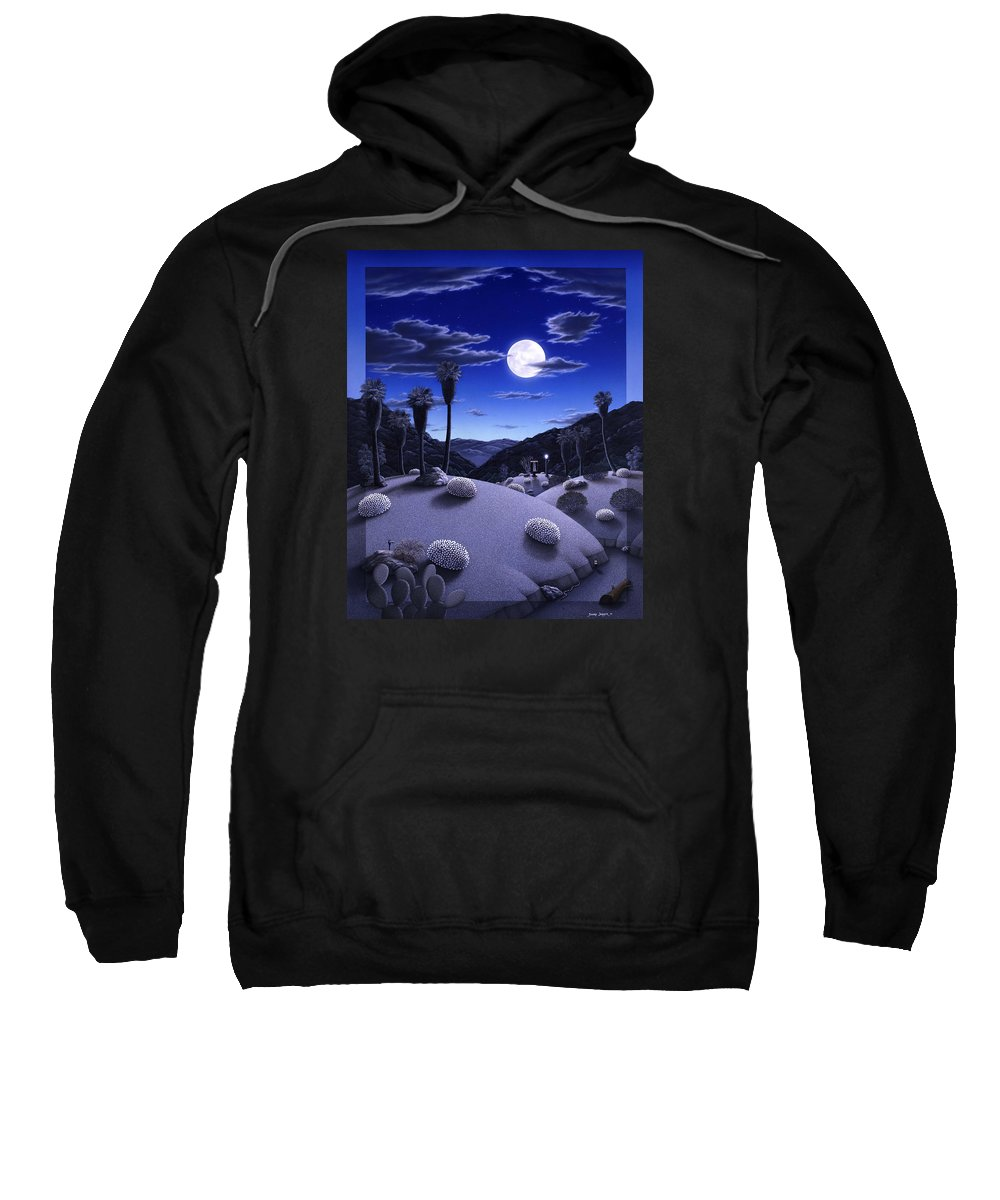 Desert Sweatshirt featuring the painting Full Moon Rising by Snake Jagger