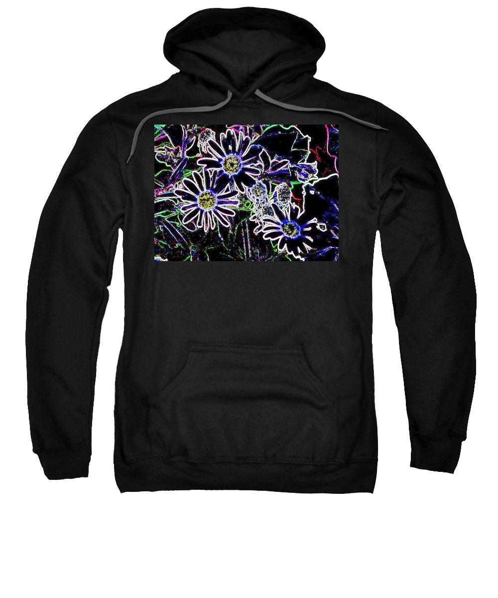 Flowers Sweatshirt featuring the digital art Funky Flowers by Anita Burgermeister