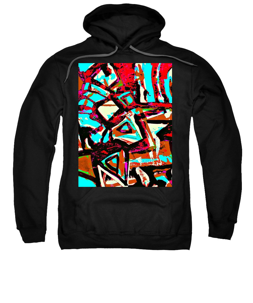 Katerina Stamatelos Sweatshirt featuring the painting Funky Pop-6 by Katerina Stamatelos